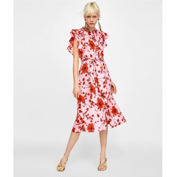 c12664447851 Zara Dresses | Nwt Floral Print Linen Tunic Dress | Poshmark